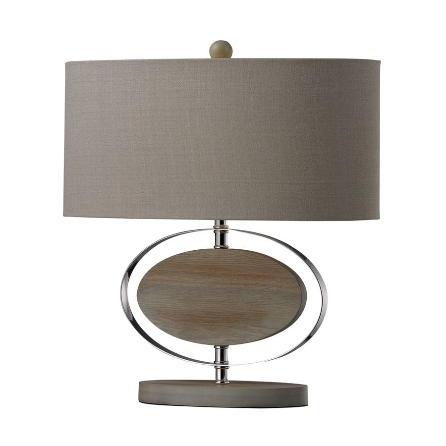 Westmore Lighting Mantegazza 18.5-in 3-Way Washed Wood and Chrome Indoor Table Lamp with Fabric Shade