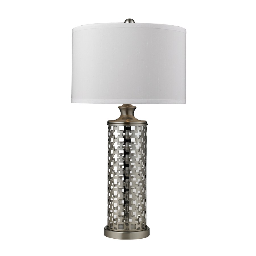 Westmore Lighting Kovin Park 31.8-in 3-Way Brushed Nickel Indoor Table Lamp with Fabric Shade