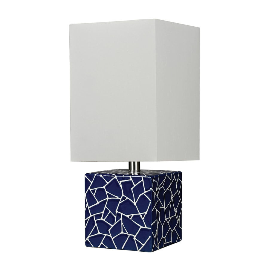 Westmore Lighting Epsilon 10-in Navy Blue and White Indoor Table Lamp with Fabric Shade