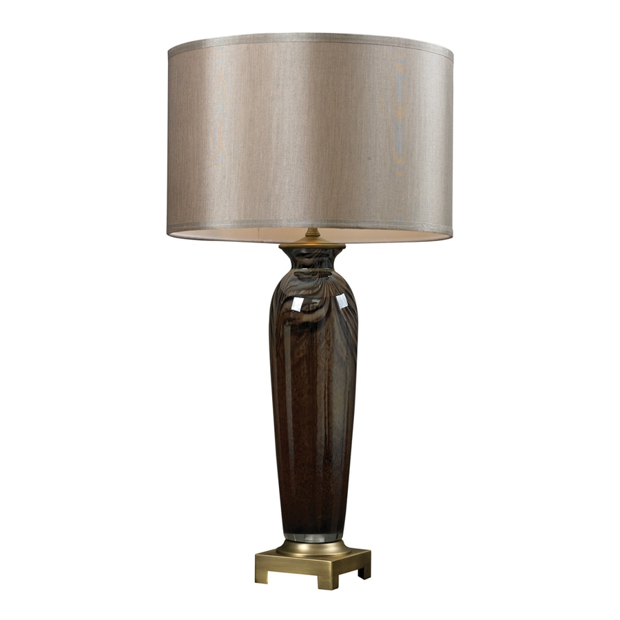 Westmore Lighting Amherst 17.5-in 3-Way Espresso and Antique Brass Indoor Table Lamp with Fabric Shade
