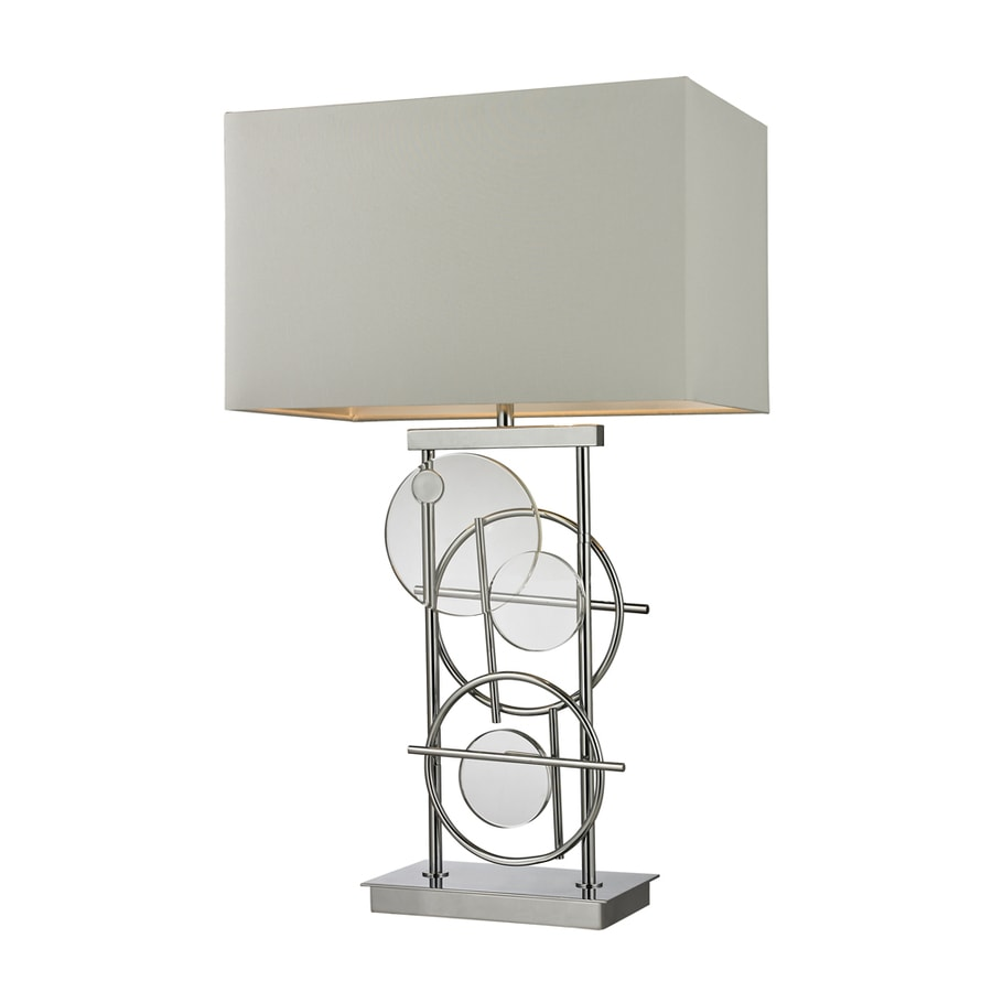 Westmore Lighting Ottawa 10-in 3-Way Clear Crystal and Chrome Indoor Table Lamp with Fabric Shade