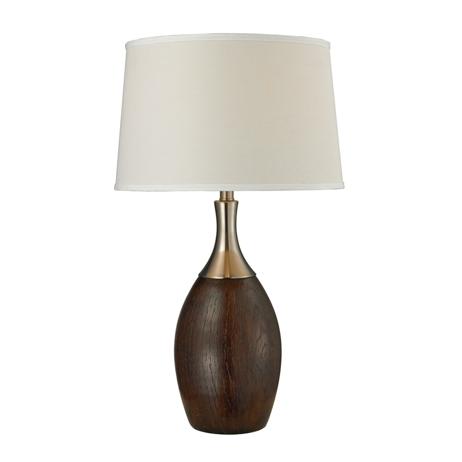 Westmore Lighting Cedar Springs 29-in 3-Way Brushed Steel and Mahogany Indoor Table Lamp with Fabric Shade