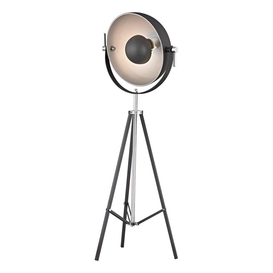 Westmore Lighting Vintage Studio 61-in Polished Nickel and Matte Black Indoor Floor Lamp with Metal Shade