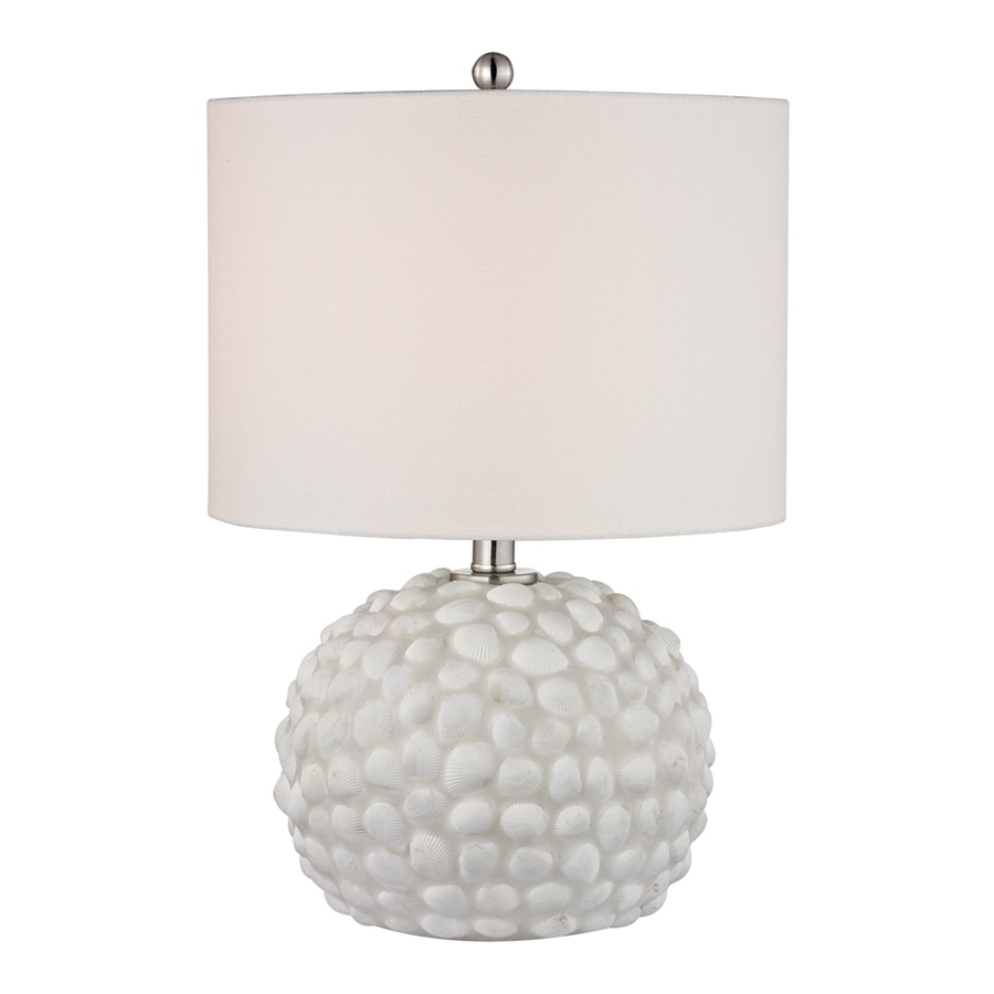 Westmore Lighting Caligata 19-in White Shell Indoor Table Lamp with Fabric Shade