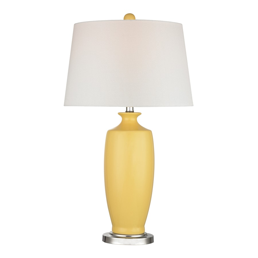 Westmore Lighting Mordigan 27-in 3-Way Sunshine Yellow and Polished Nickel Indoor Table Lamp with Fabric Shade