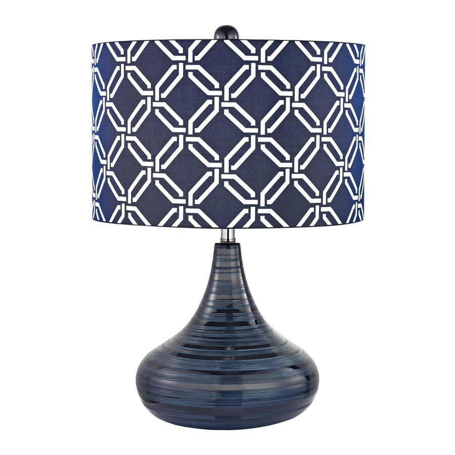 lighting mccarol 21 in navy blue indoor table lamp with fabric shade. Black Bedroom Furniture Sets. Home Design Ideas