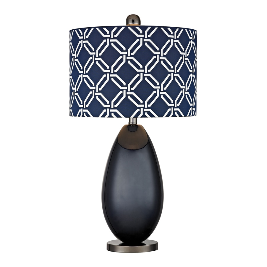 Westmore Lighting Beaver Meadows 25-in 3-Way Navy Blue and Black Nickel Indoor Table Lamp with Fabric Shade