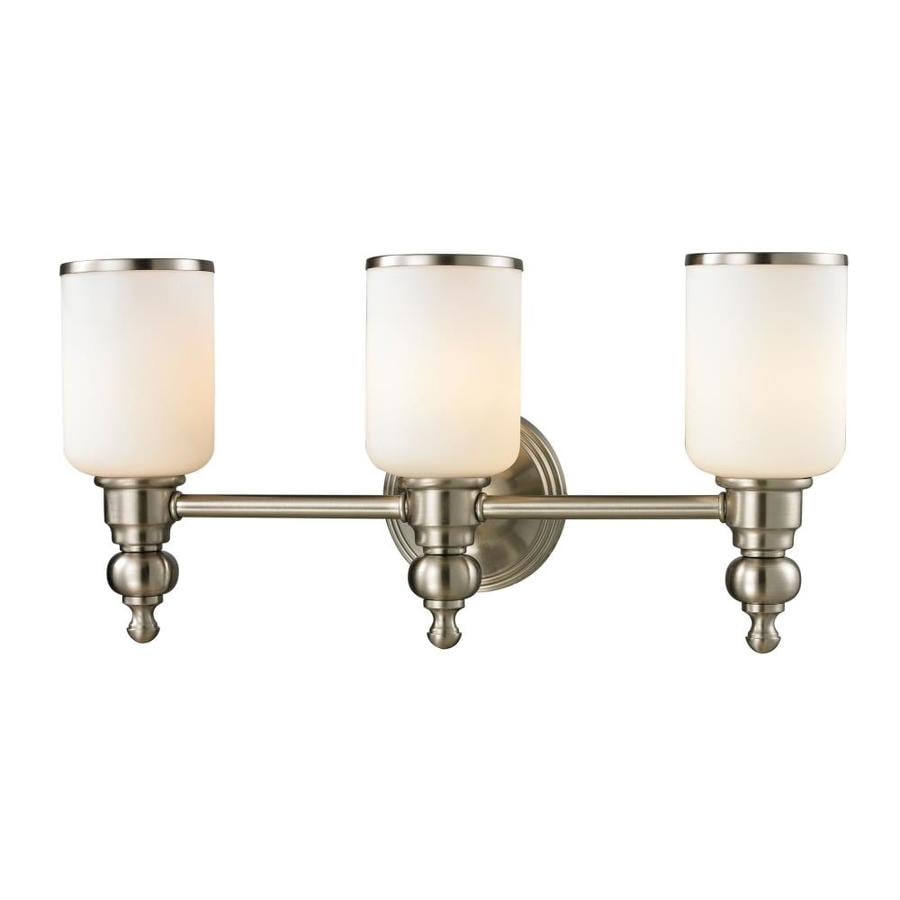 3 Light Vanity Brushed Nickel : Shop Westmore Lighting Trimalchio 3-Light Brushed Nickel Cylinder Vanity Light at Lowes.com