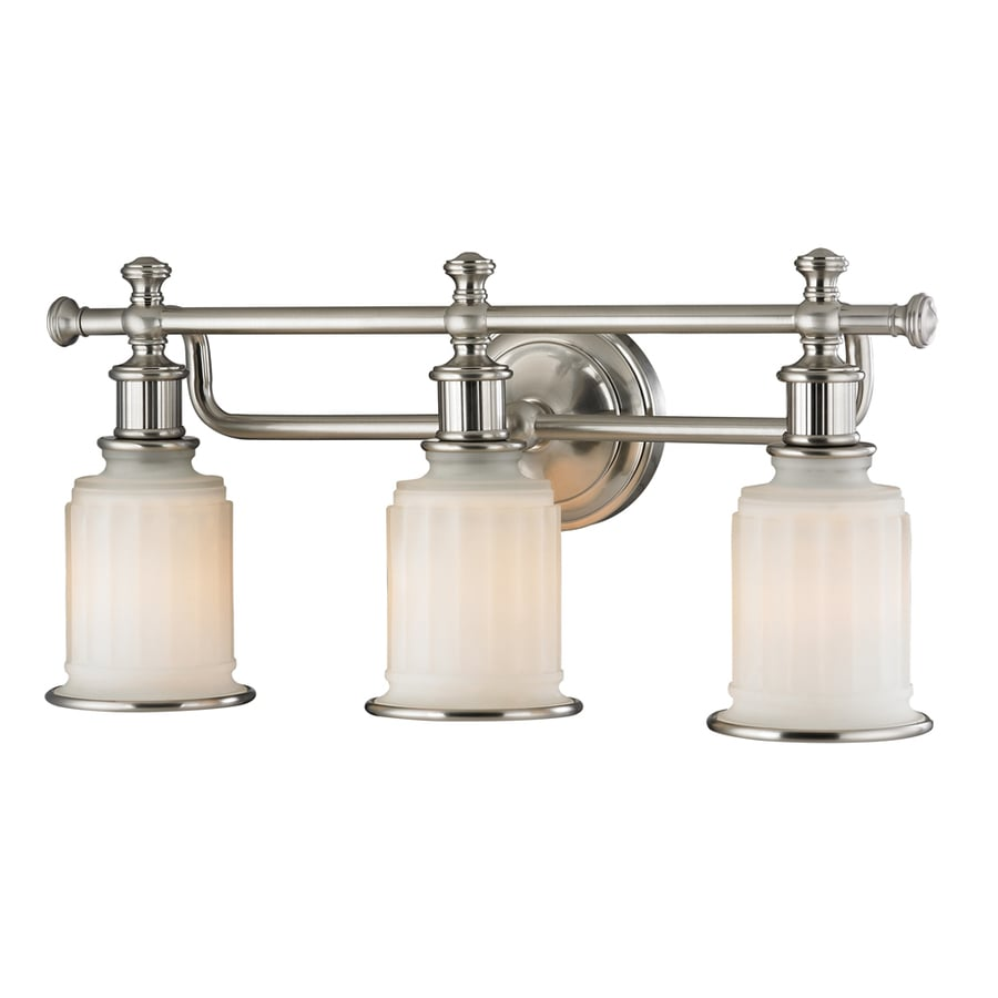 lighting nicolette 3 light brushed nickel bell vanity light at lowes. Black Bedroom Furniture Sets. Home Design Ideas