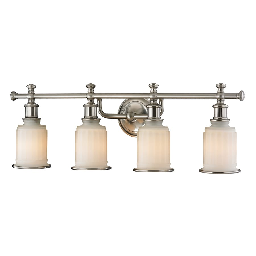 Shop westmore lighting nicolette 4 light brushed nickel for Bathroom light fixtures lowes