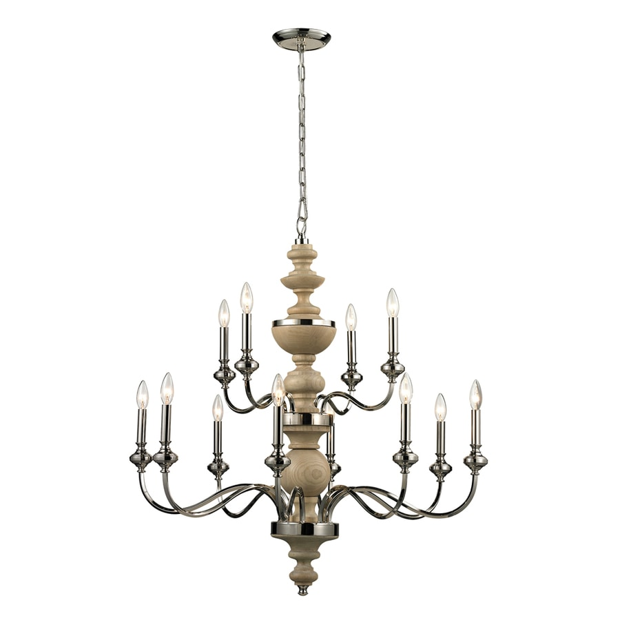 Westmore Lighting Pickford 37-in 12-Light Polished Nickel Candle Chandelier