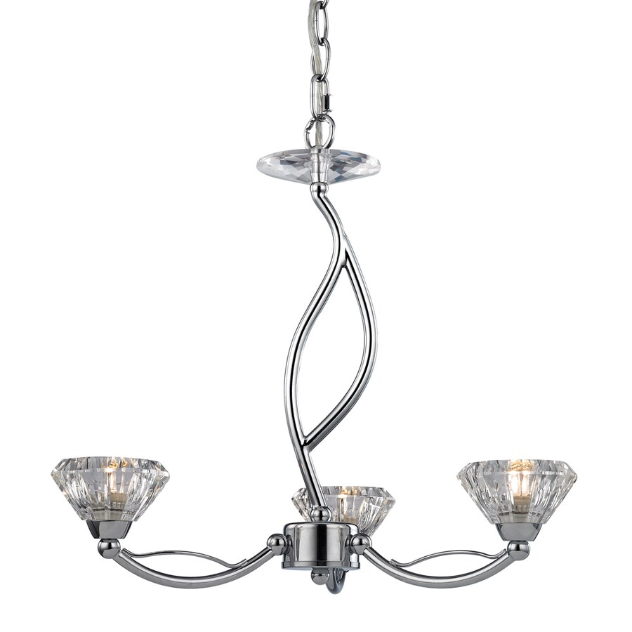 Westmore Lighting Suffolk 18-in 3-Light Polished Chrome Crystal Crystal Shaded Chandelier