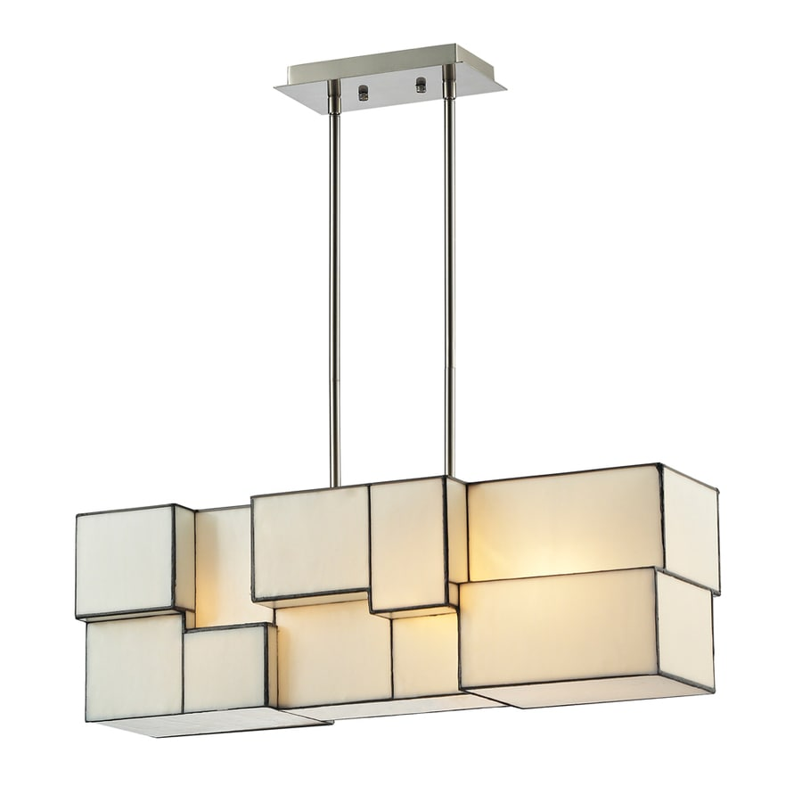 Westmore Lighting Tectonicus 27-in 4-Light Brushed Nickel Tinted Glass Linear Mini Chandelier
