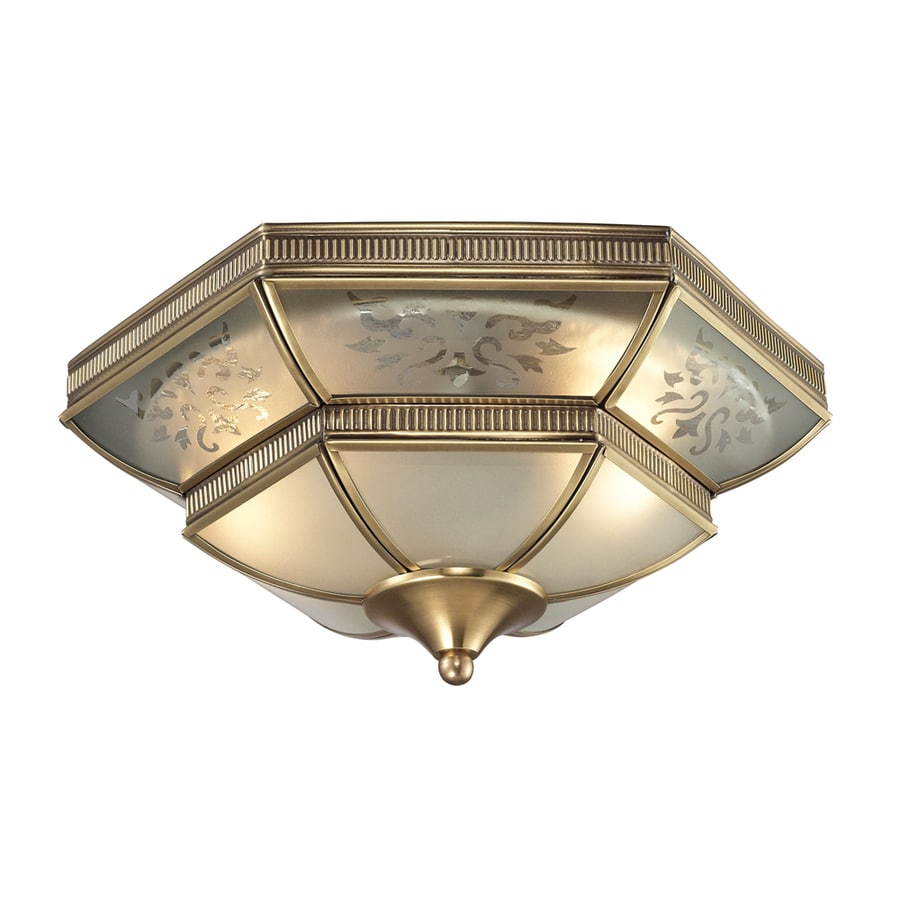 Westmore Lighting Provencale 14-in W Brushed Brass Ceiling Flush Mount Light