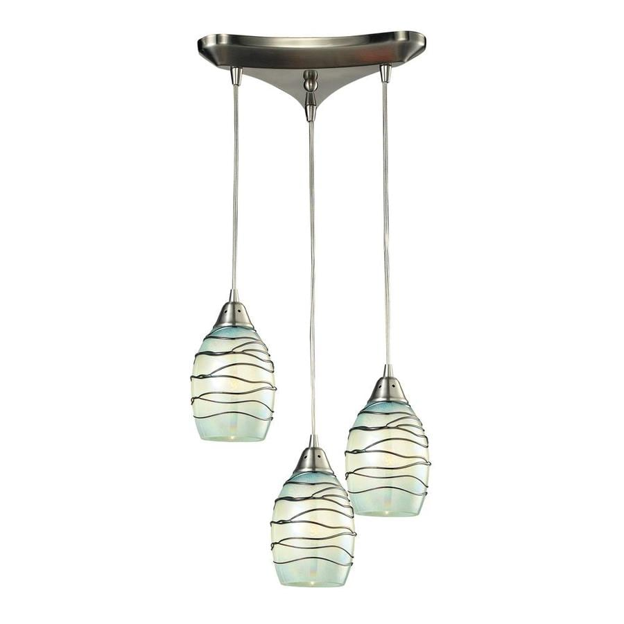 Lowes Novelty Lighting : Shop Westmore Lighting Tendril 10-in Satin Nickel Novelty Mini Textured Glass Pendant at Lowes.com