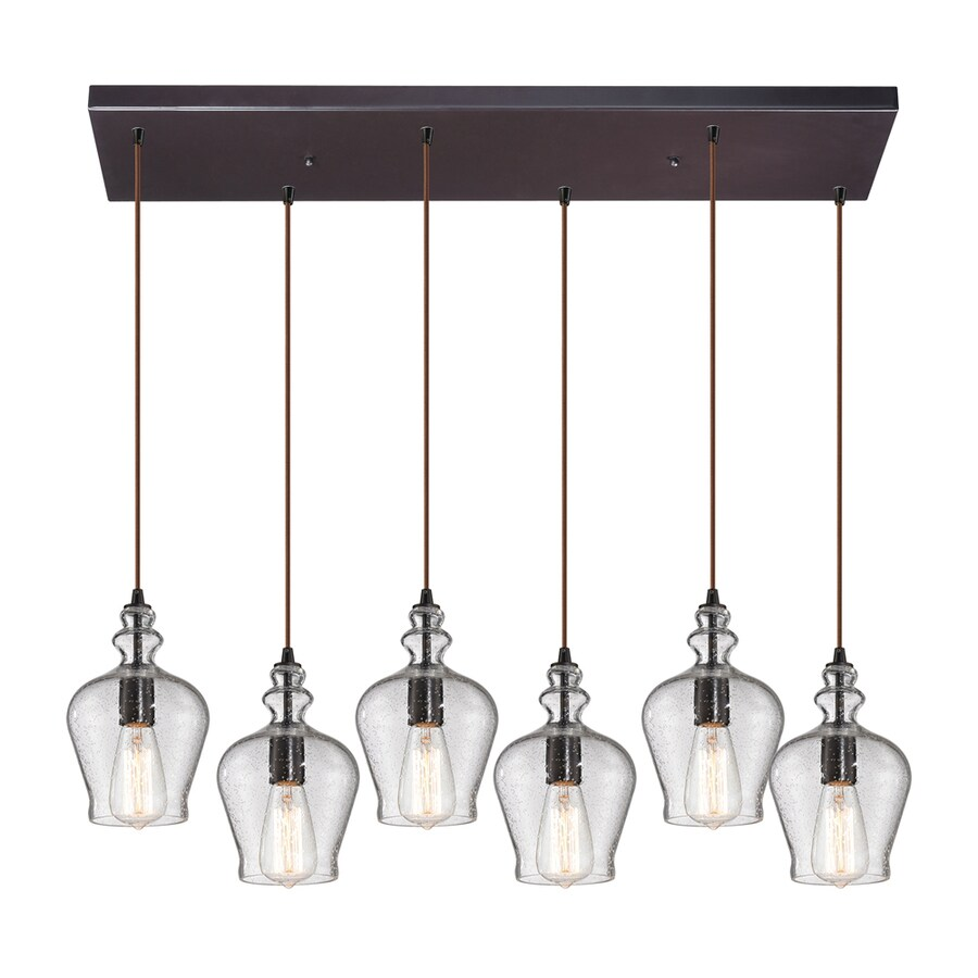 Westmore Lighting Alvingham 30-in Oil-Rubbed Bronze Mini Clear Glass Pendant
