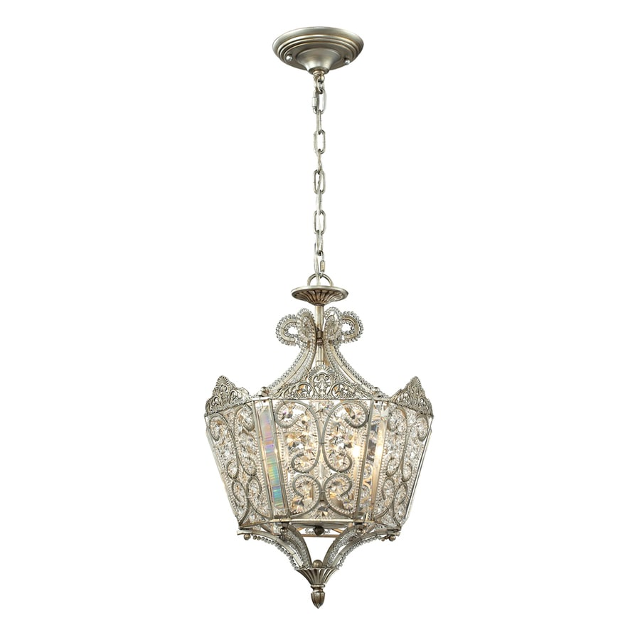 Westmore Lighting Jordell 13-in Aged Silver Single Crystal Pendant