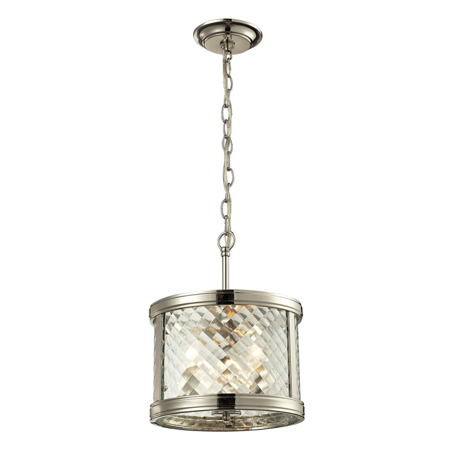 Westmore Lighting Yalding 18-in Polished Nickel Hardwired Mini Clear Glass Cylinder Pendant