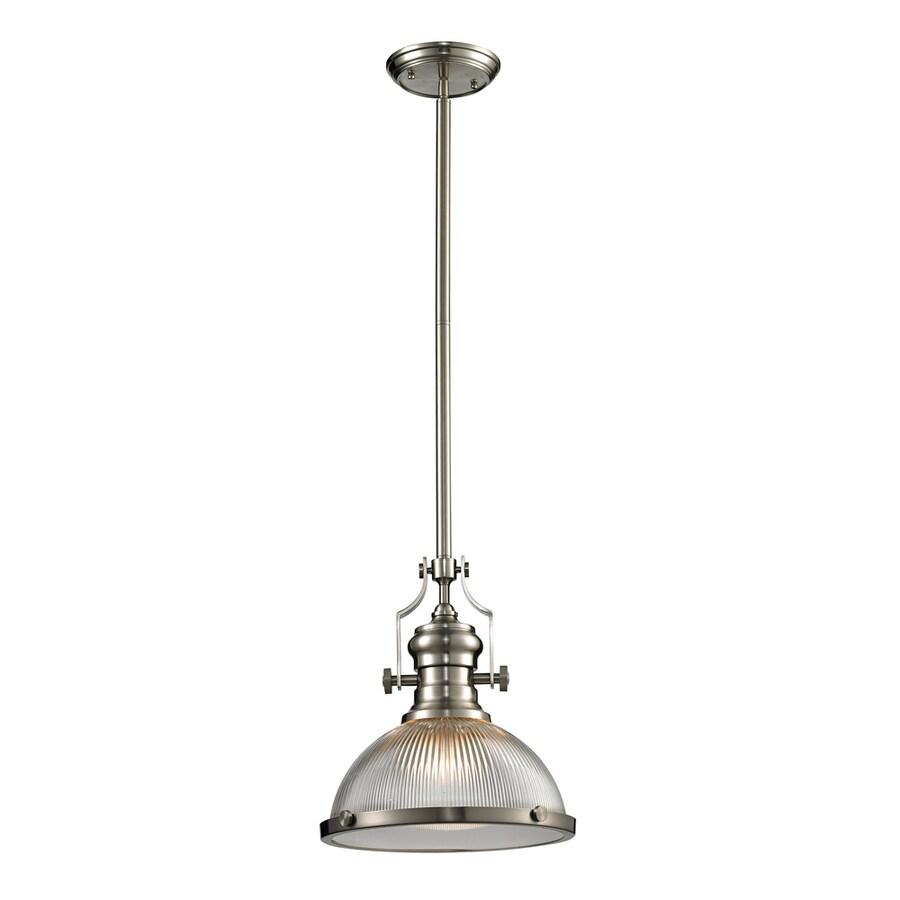 Westmore Lighting Chiserley 13-in Satin Nickel Single Clear Glass Pendant