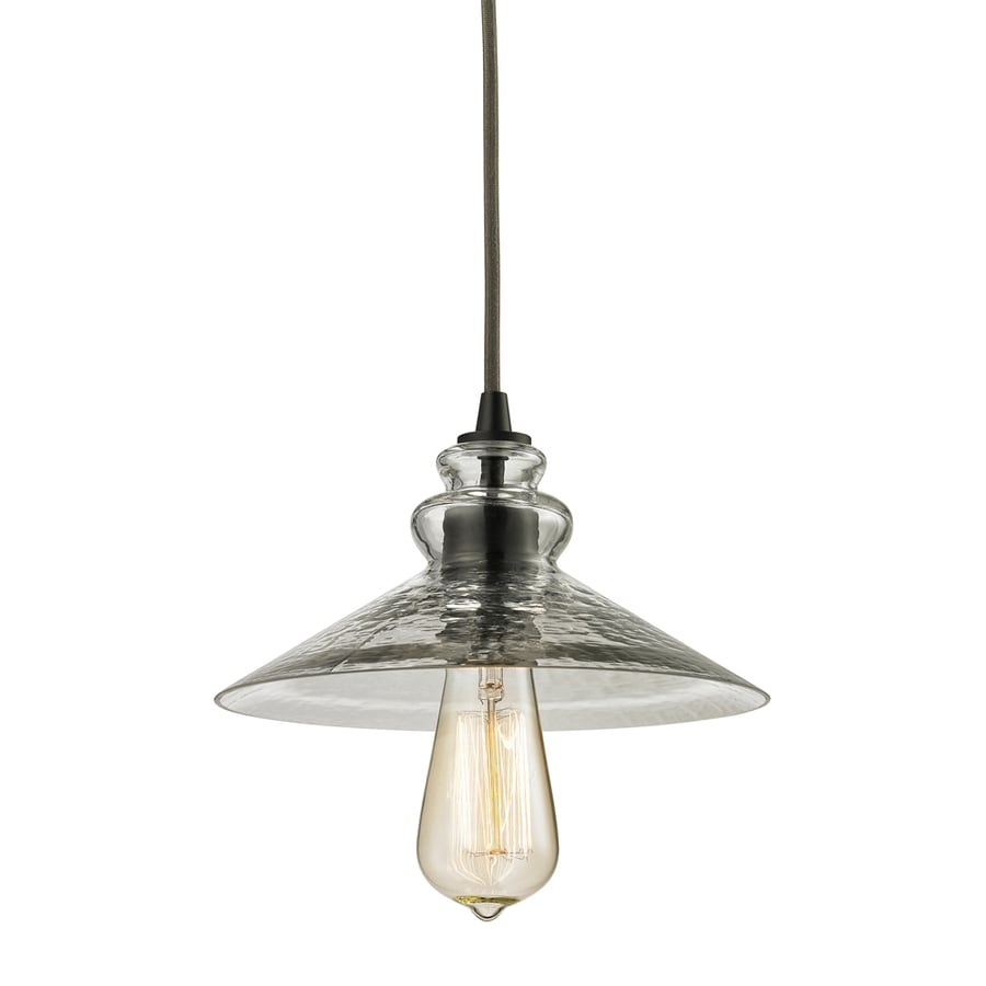 Westmore Lighting Glassmith 9-in Oil-Rubbed Bronze Mini Clear Glass Pendant