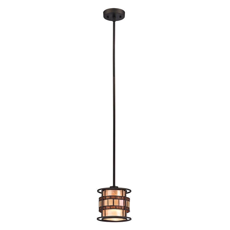 Westmore Lighting Karnos 7-in Tiffany Bronze Mini Stained Glass Pendant