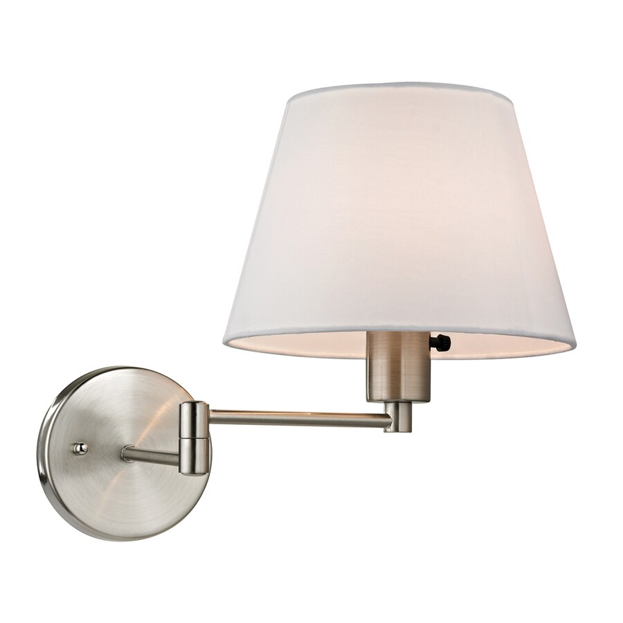 Swing Arm Wall Sconces Hardwired : Shop Westmore Lighting Aspen 9-in W 1-Light Brushed Nickel Swing Arm Hardwired Wall Sconce at ...