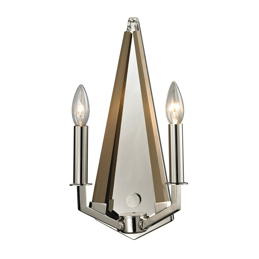 Westmore Lighting Kinghall 8-in W 2-Light Polished Nickel Candle Hardwired Wall Sconce