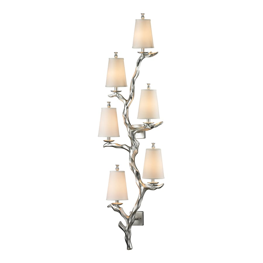 Westmore Lighting Saga 19-in W 6-Light Silver Leaf Candle Hardwired Wall Sconce
