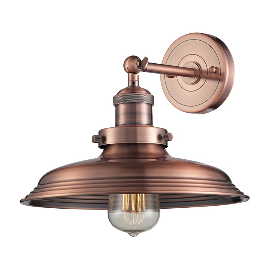 Vintage Copper Wall Sconces : Shop Westmore Lighting Longstock 11-in W 1-Light Antique Copper Arm Hardwired Wall Sconce at ...