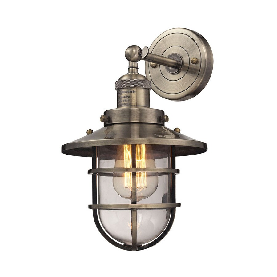 Westmore Lighting Hadleigh 8-in W 1-Light Antique Brass Vintage Arm Hardwired Wall Sconce