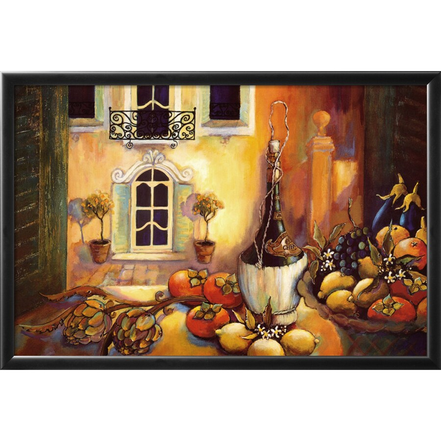Shop artcom 31 in w x 21 in h framed food and beverage for Kitchen cabinets lowes with cupcake canvas wall art