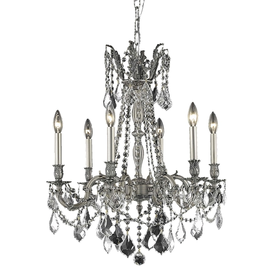 Luminous Lighting Rosalia 23-in 6-Light Pewter Candle Chandelier