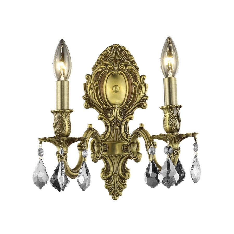 Luminous Lighting 10-in W 2-Light French Gold Arm Hardwired Wall Sconce