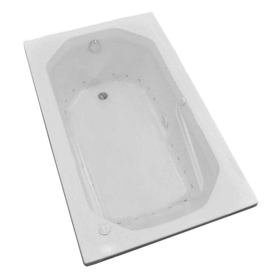 Endurance Pelican 59.75-in L x 35.5-in W x 23-in H White Acrylic Oval In Rectangle Drop-in Air Bath