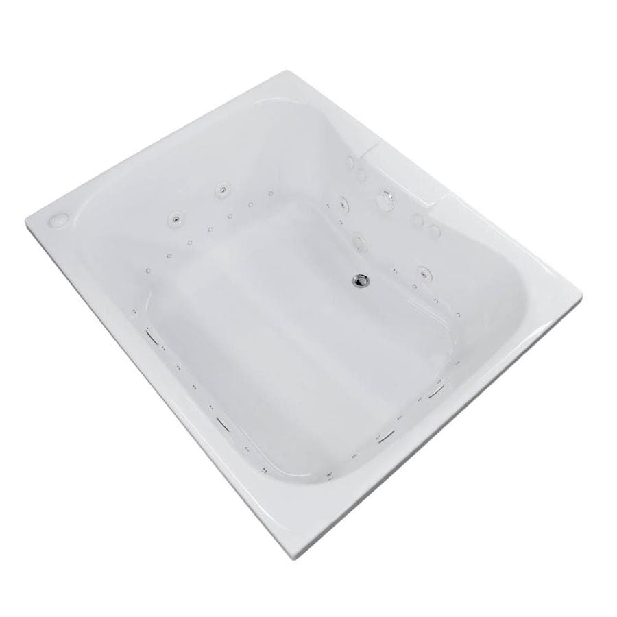 Endurance Harrier 59-in L x 47.25-in W x 23-in H 2-Person White Acrylic Hourglass In Rectangle Drop-in Whirlpool Tub and Air Bath