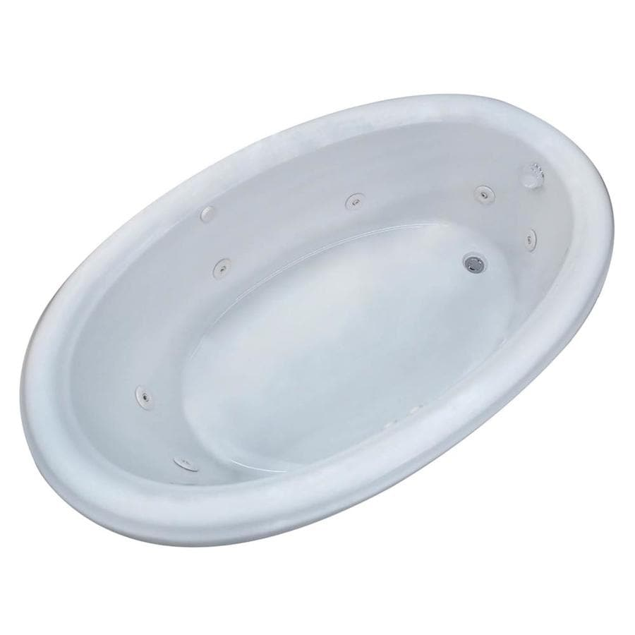 Endurance Hazel White Acrylic Oval Whirlpool Tub (Common: 72-in x 42-in; Actual: 24.75-in x 44-in x 78-in)