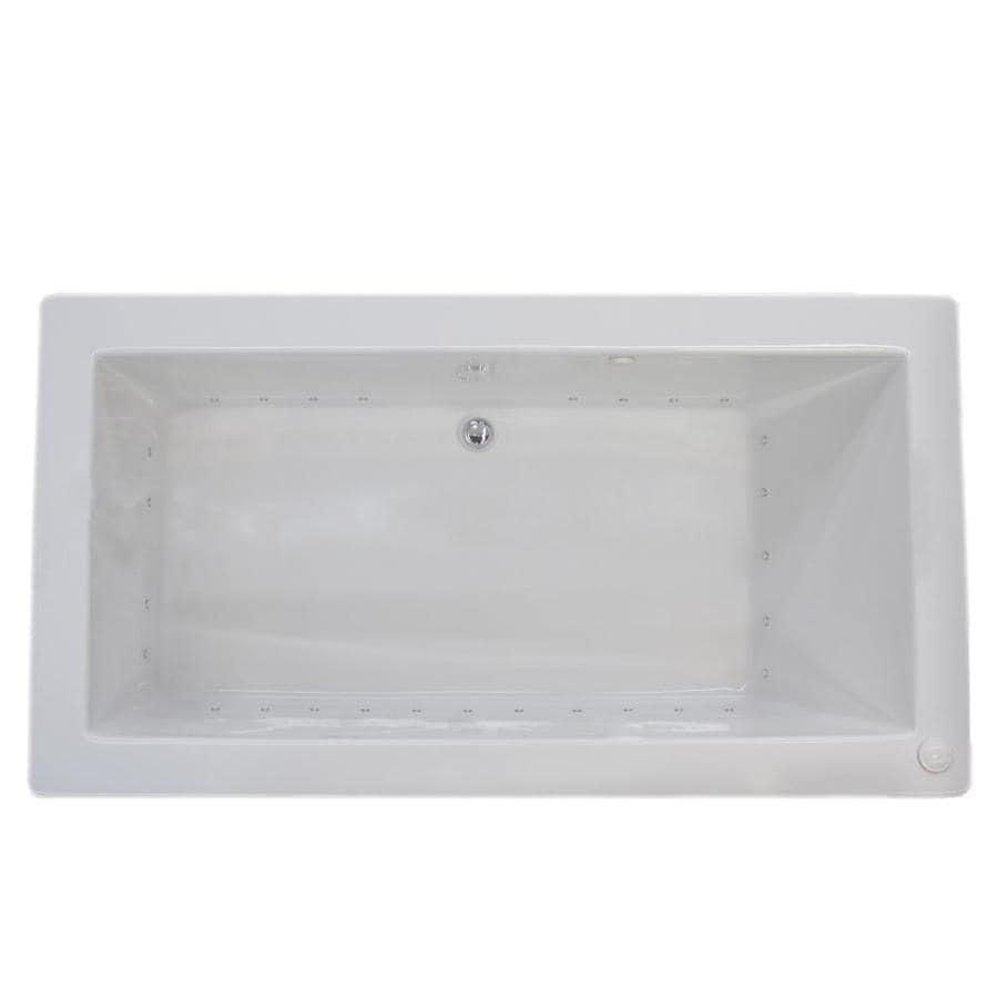 Endurance Peregrine 42-in L x 72-in W x 23-in H White Acrylic 2-Person Rectangular Drop-in Air Bath