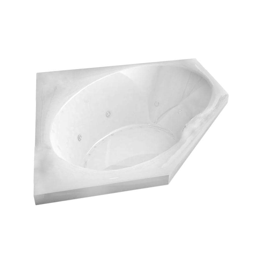 Endurance Macaw 58-in L x 58-in W x 23-in H 2-Person White Acrylic Corner Drop-in Whirlpool Tub and Air Bath