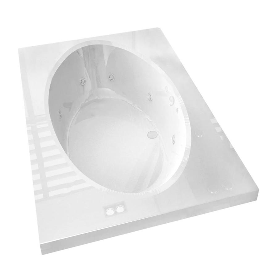 Endurance Partridge White Acrylic Oval In Rectangle Whirlpool Tub (Common: 72-in x 42-in; Actual: 23-in x 41.375-in x 71.25-in)