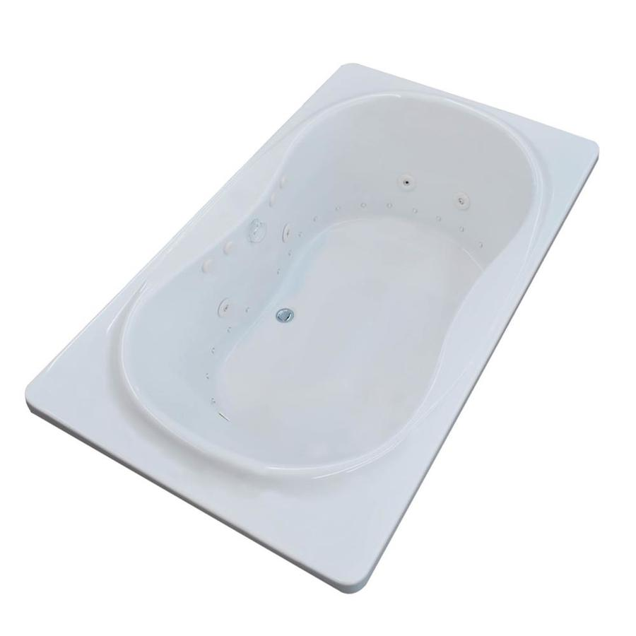 Endurance Crane 71.5-in L x 35.5-in W x 23-in H White Acrylic Hourglass In Rectangle Drop-in Whirlpool Tub and Air Bath