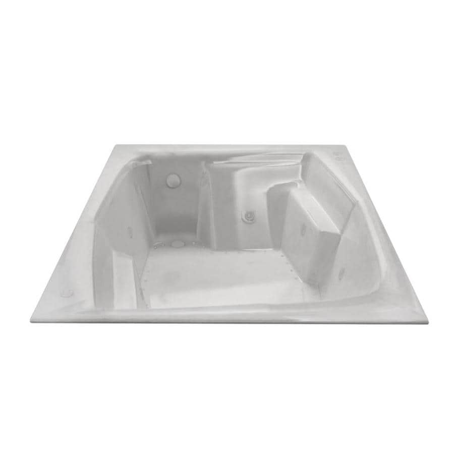 Endurance Egret 71.75-in L x 53.75-in W x 24.75-in H 2-Person White Acrylic Rectangular Drop-in Whirlpool Tub and Air Bath