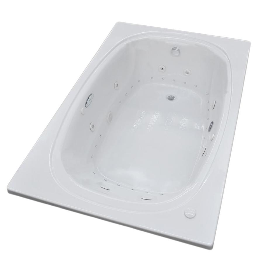 Endurance Budgie 71.5-in L x 47.7-in W x 23-in H 2-Person White Acrylic Oval In Rectangle Drop-in Whirlpool Tub and Air Bath