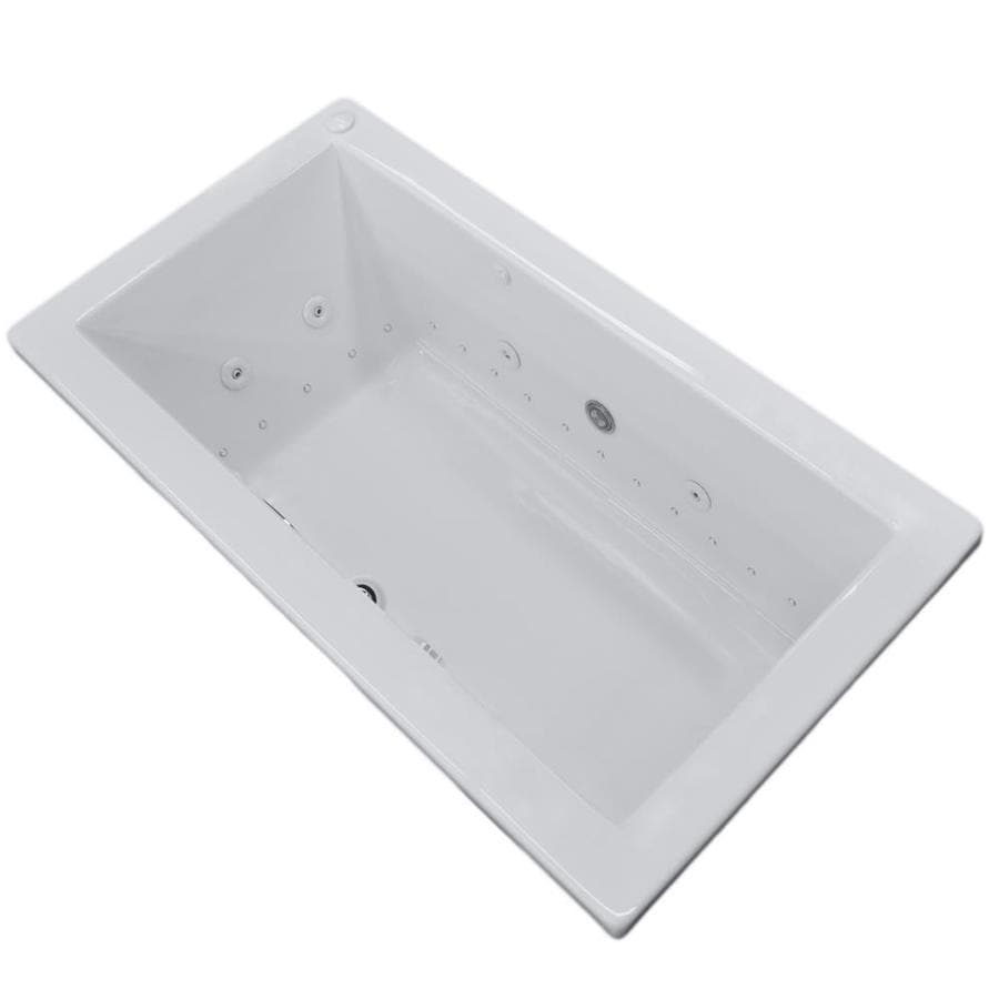 Endurance Peregrine 72-in L x 42-in W x 23-in H White Acrylic Rectangular Drop-in Whirlpool Tub and Air Bath