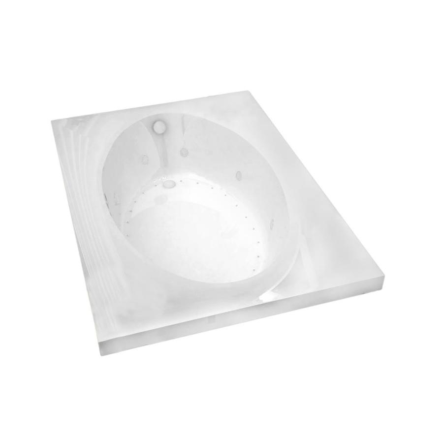 Endurance Partridge 83.7-in L x 42.5-in W x 23-in H White Acrylic Oval In Rectangle Drop-in Whirlpool Tub and Air Bath