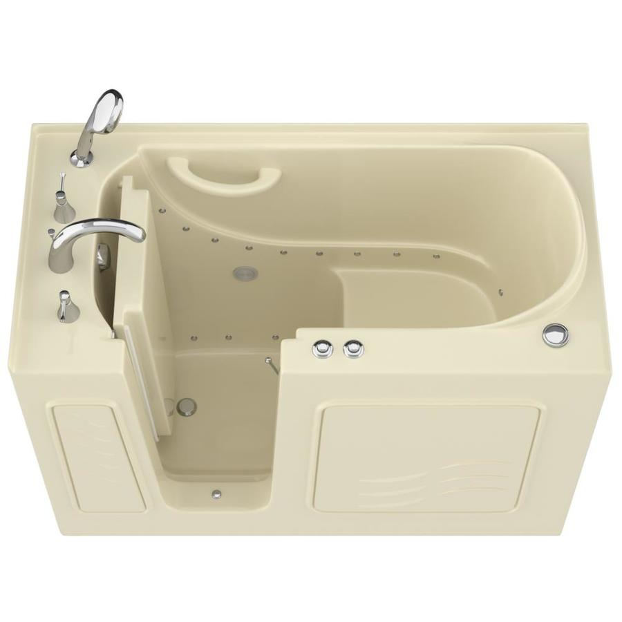 Endurance 53-in L x 27-in W x 38-in H Biscuit Gelcoat and Fiberglass Rectangular Walk-in Air Bath