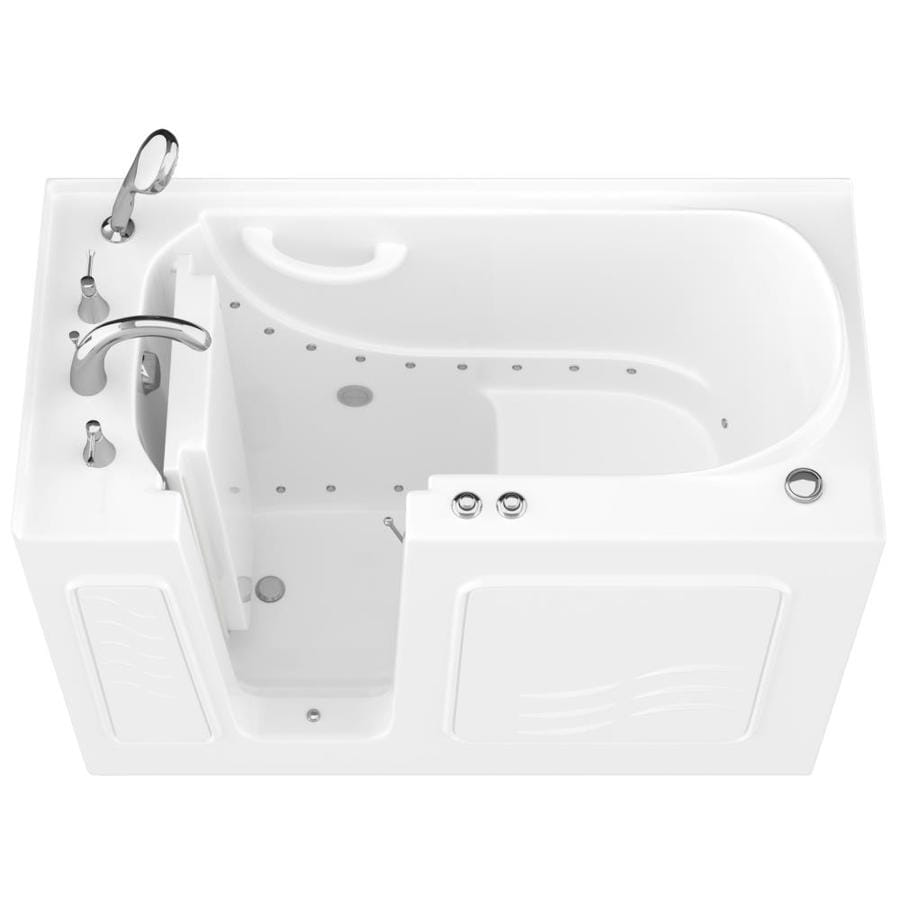 Endurance 53-in L x 27-in W x 38-in H White Gelcoat and Fiberglass Rectangular Walk-in Air Bath