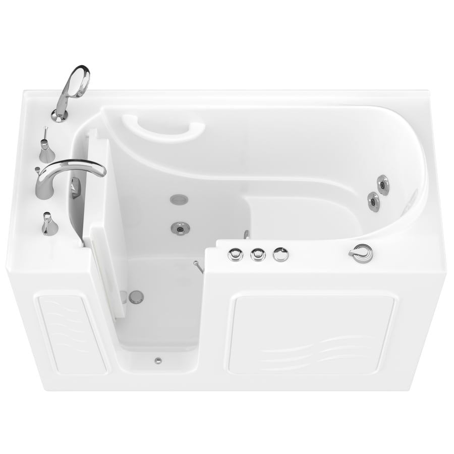 Endurance White Gelcoat and Fiberglass Rectangular Walk-in Whirlpool Tub (Common: 60-in x 30-in; Actual: 38-in x 53-in x 27-in)
