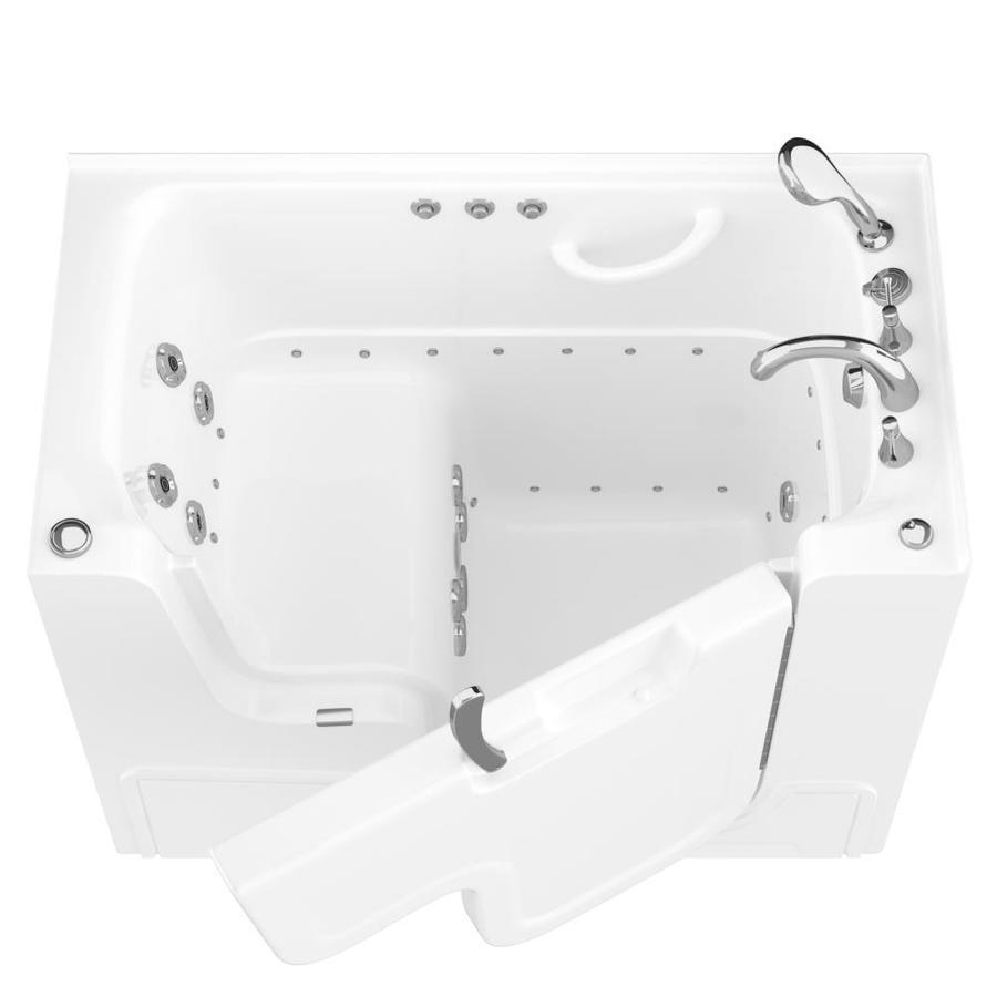 Endurance 53-in L x 29-in W x 42-in H White Gelcoat and Fiberglass Rectangular Walk-in Whirlpool Tub and Air Bath