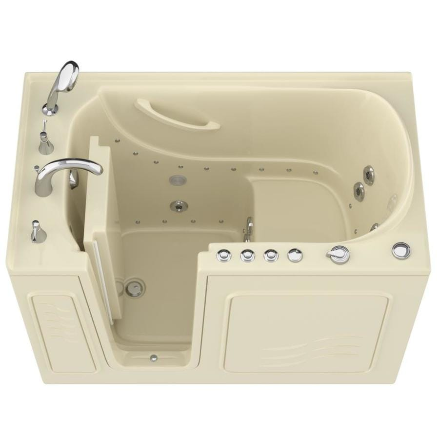 Endurance 53-in L x 30-in W x 38-in H Biscuit Gelcoat and Fiberglass Rectangular Walk-in Whirlpool Tub and Air Bath
