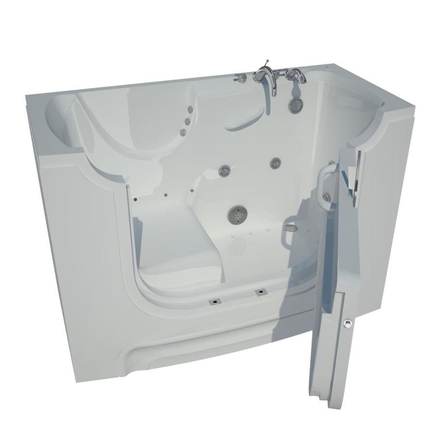 Endurance 60-in L x 30-in W x 43-in H White Gelcoat and Fiberglass Rectangular Walk-in Whirlpool Tub and Air Bath